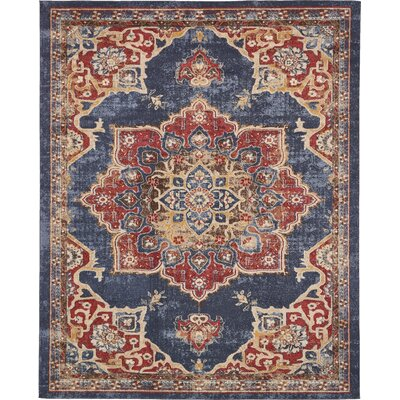 Dulin Blue/Red Area Rug Rug Size: 8 x 8 (Round)