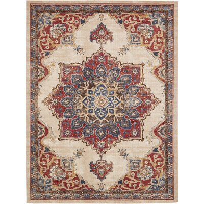 Dulin Cream Area Rug Rug Size: Rectangle 9 x 12