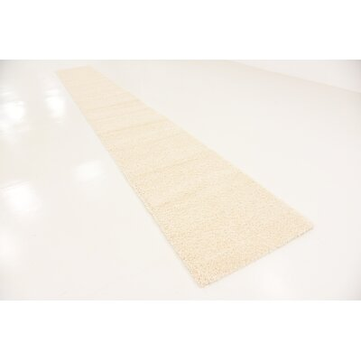 Bixler Frieze Basic Cream Area Rug Rug Size: Runner 27 x 198