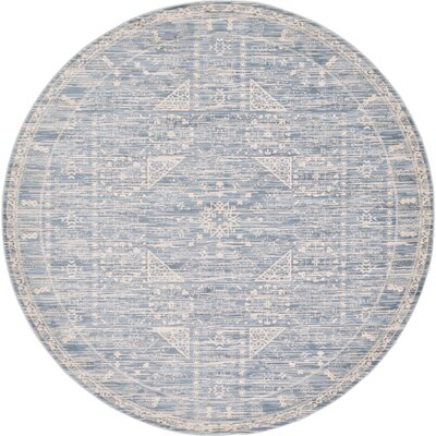 Phillip Light Blue Area Rug Rug Size: Round 6