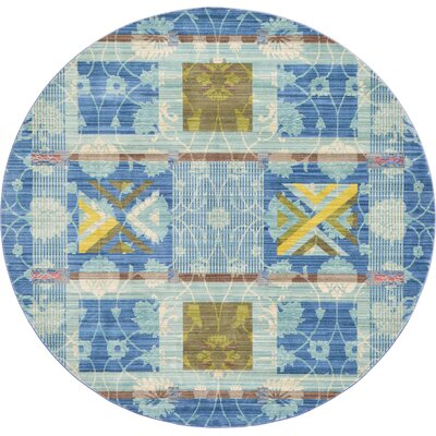 Rune Blue Area Rug Rug Size: Round 6