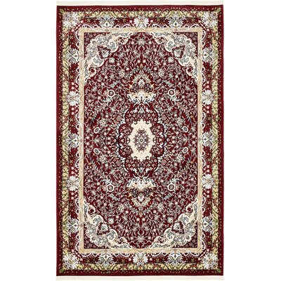 Courtright Burgundy/Ivory Area Rug Rug Size: Rectangle 5 x 8