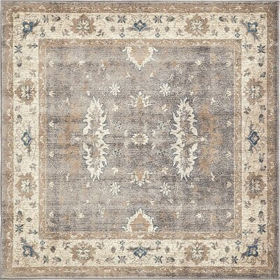 Basswood Gray Area Rug Rug Size: Square 5