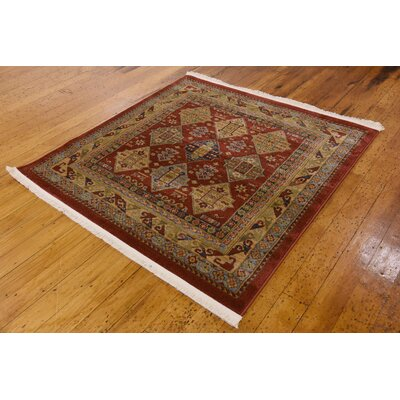 Jana Red Tibetan Area Rug Rug Size: Square 4