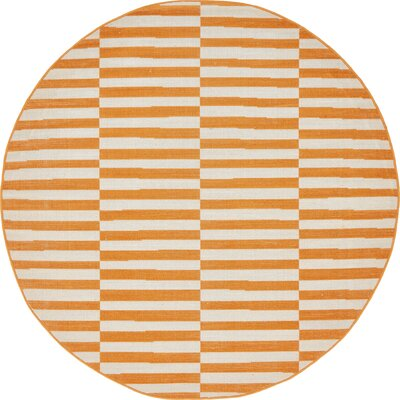 Braxton Orange Area Rug Rug Size: Round 5