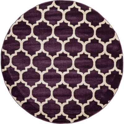 Kellie Purple Area Rug Rug Size: Round 6