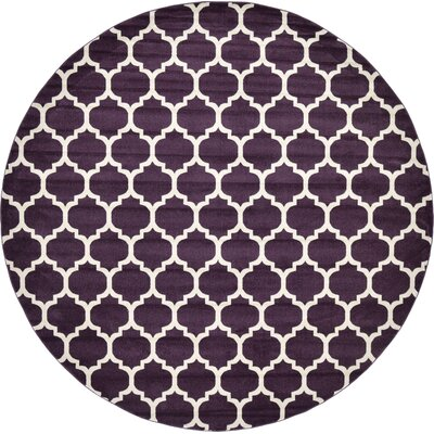 Kellie Purple Area Rug Rug Size: Round 10