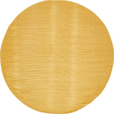 Risley Gold Area Rug Rug Size: Round 8