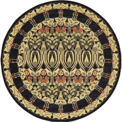 Fonciere Black Area Rug Rug Size: Round 6