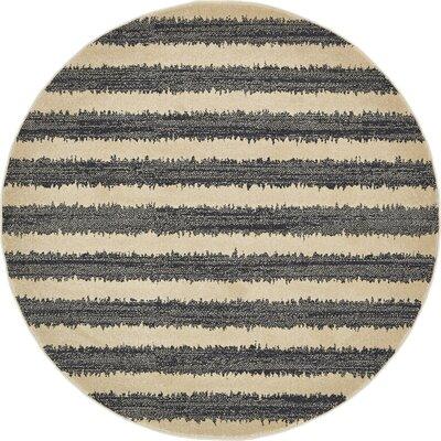 Winscombe Black Area Rug Rug Size: Round 6