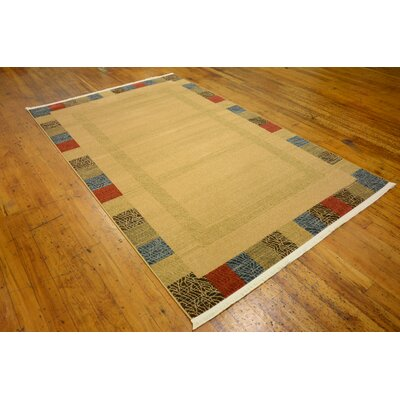 Jan Beige Color Bordered Area Rug Rug Size: Rectangle 6' x 9'
