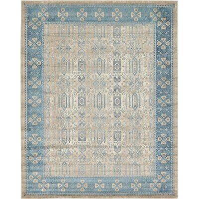 Jaiden Rectangle Beige/Blue Area Rug Rug Size: 10 x 13