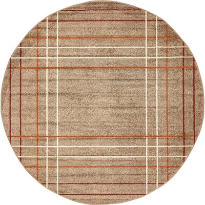 Bryan Light Brown Plaid Area Rug Rug Size: Round 8