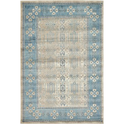 Jaiden Rectangle Beige/Blue Area Rug Rug Size: 6 x 9