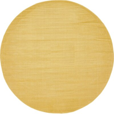 Risley Gold Area Rug Rug Size: Round 5