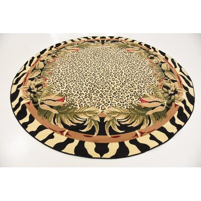 Leif Tan/Olive Area Rug Rug Size: Round 8
