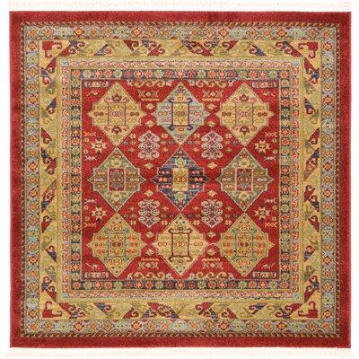 Jana Red Tibetan Area Rug Rug Size: Square 4