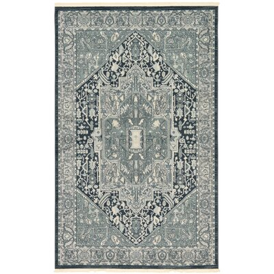 Jana Dark Gray Oriental Area Rug Rug Size: Rectangle 5 x 8