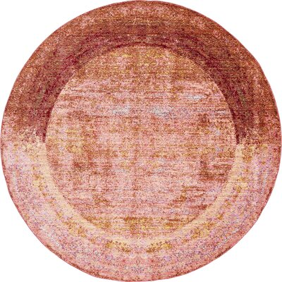 Brown/Orange/Pink Area Rug Rug Size: Round 6