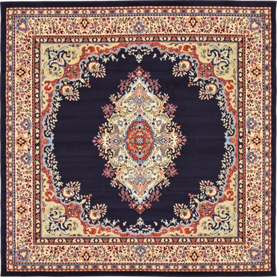 Astral Navy Blue Area Rug Rug Size: Square 8'