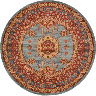 Valley Red/Light Blue Area Rug Rug Size: Round 8
