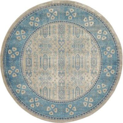 Jaiden Beige/Blue Area Rug Rug Size: Round 73