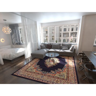 Astral Navy Blue Area Rug Rug Size: Square 8