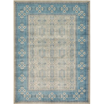 Jaiden Rectangle Beige/Blue Area Rug Rug Size: 8 x 11