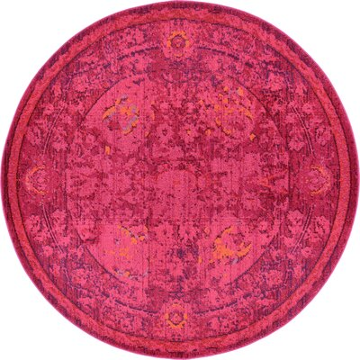 Iris Red Area Rug Rug Size: Round 8