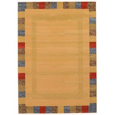 Jan Beige Color Bordered Area Rug Rug Size: 7 x 10
