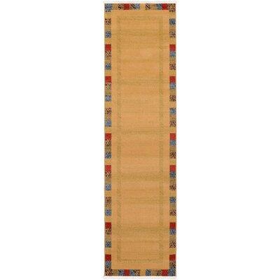 Jan Beige Color Bordered Area Rug Rug Size: Runner 27 x 10