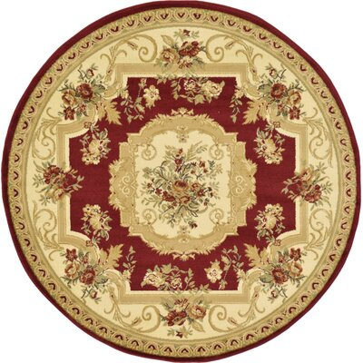 Sheffield Beige / Red Area Rug Rug Size: Round 6