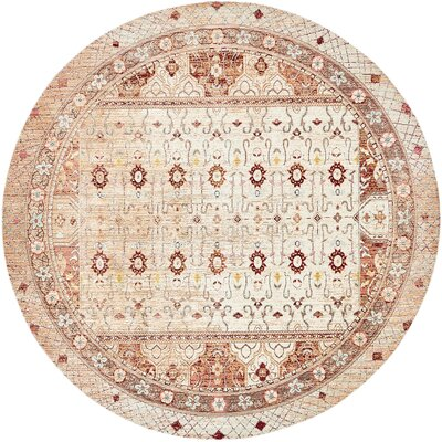 Center Beige Area Rug Rug Size: Round 8