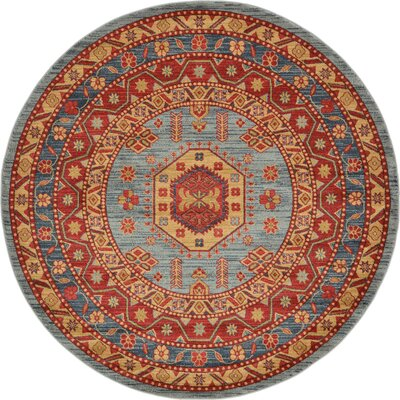 Valley Red/Light Blue Area Rug Rug Size: Round 6