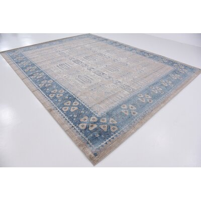 Jaiden Rectangle Beige/Blue Area Rug Rug Size: Round 8