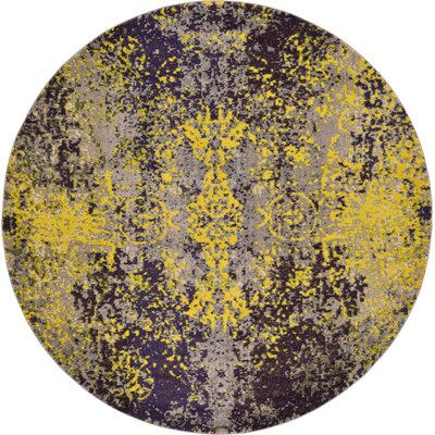 Fujii Gray/Yellow Area Rug Rug Size: Round 6