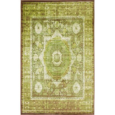 Hezekiah Green/Brown Area Rug Rug Size: Rectangle 5 x 8
