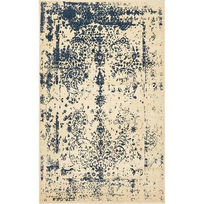 Ronin Beige/Navy Blue Area Rug Rug Size: 5 x 8