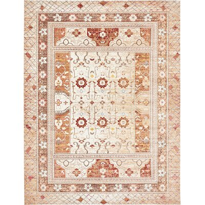 Center Beige Area Rug Rug Size: Rectangle 9 x 12
