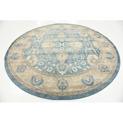 Basswood Light Blue Area Rug Rug Size: Round 8