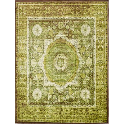 Hezekiah Green/Brown Area Rug Rug Size: 10 x 13