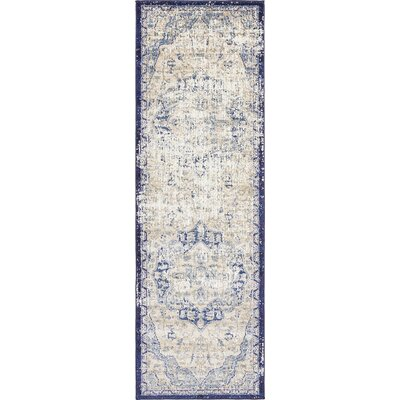 Koury Blue/Beige Area Rug Rug Size: Runner 22 x 67