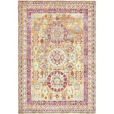 Carrico Yellow Area Rug Rug Size: 4 x 6