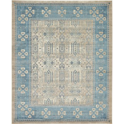 Jaiden Rectangle Beige/Blue Area Rug Rug Size: 8 x 10