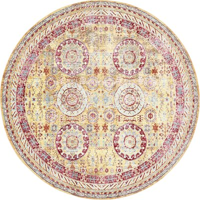 Carrico Yellow Area Rug Rug Size: Round 8