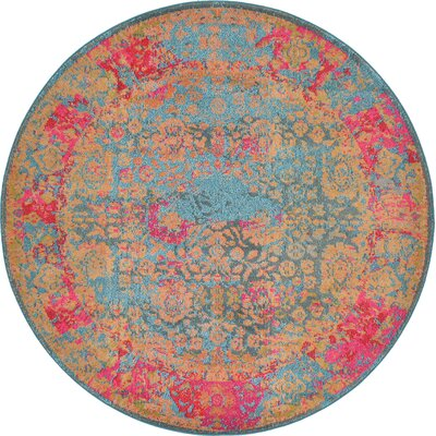 Enid Blue Area Rug Rug Size: Round 6