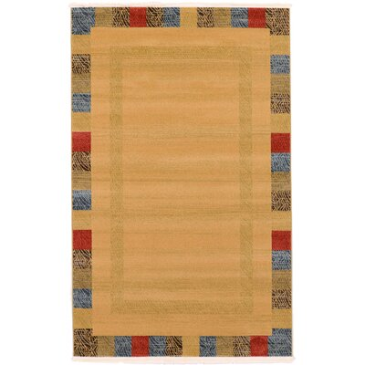 Jan Beige Color Bordered Area Rug Rug Size: 5 x 8