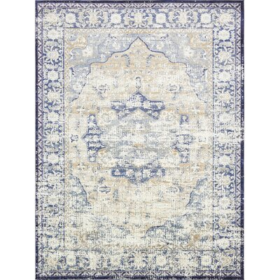 Koury Blue/Beige Area Rug Rug Size: Rectangle 106 x 165