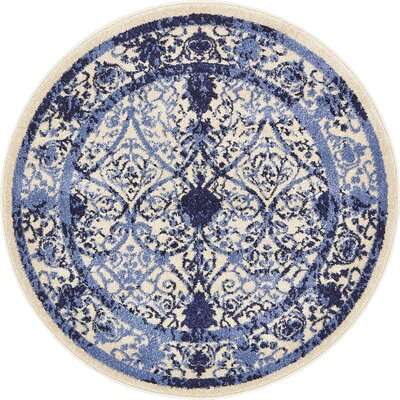 Shailene Blue Indoor/Outdoor Area Rug Rug Size: Round 3