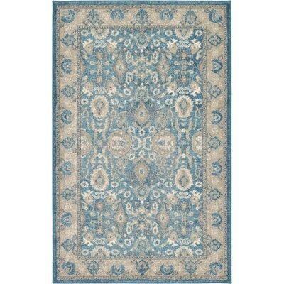 Jaiden Blue / Brown Area Rug Rug Size: 33 x 53
